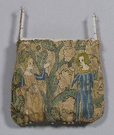 Purse, Date: early 14th century Culture: French Medium: Silk, linen, gold leaf Dimensions: Overall: 5 1/2 x 6in. (14 x 15.2cm) Accession Number: 64.101.1364 The Metropolitan Museum of Art