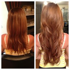 Beautiful Golden Copper with Blonde balayaged highlights and full seamless Extensions By Stylist Leah Villagran