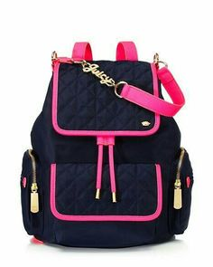 Larchmont Nylon Mini Backpack blue and hot pink Cute Mini Backpacks, Stylish Backpacks, Small Handbags, Purses And Handbags, Backpack Purse, Backpack Handbags, Drawstring Backpack, Cute Purses, Girls Bags