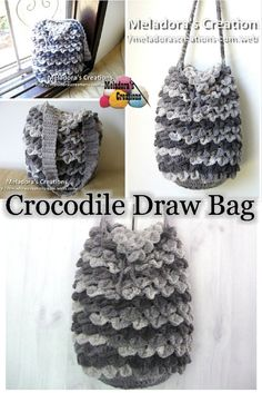 Your place to learn how to Crochet the Crocodile Stitch Draw Bag for FREE. by Meladora's Creations - Free Crochet Patterns and Video Tutorials