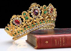 French Antique Crown Tiara with Colored Jewels, circa 1840