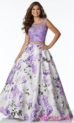 Floral Print Two-Piece Satin Prom Dress by Mori Lee