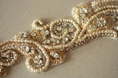 Wedding dress Sash in Gold Champagne and Ivory  by MillieICARO, $220.00