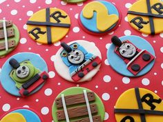 Thomas the train inspired Fondant Cupcake/Cookie Toppers