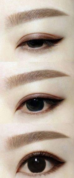 Make-up Make-up concepts asian eyes eyeliner concepts Maternity Wedding ceremony Costum Korean Eyebrows, Korean Eye Makeup, Asian Makeup Monolid, Korea Makeup, Korean Eyeliner, Japanese Eyebrows, Makeup Korean Style, Japanese Makeup, Asian Style