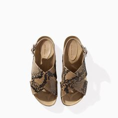 PRINTED LEATHER CROSSOVER SANDAL from Zara
