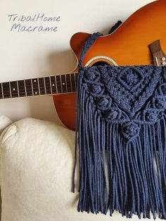 MACRAME BAG, crochet purse, navy dark blue jean, more COLOURS,fringes/Handbag/boho bohemian hippie chic/perfect gift for women mother's day Hippie Chic, Hippie Bohemian, Dark Bohemian, Macrame Colar, Macrame Bag, Bag Crochet, Crochet Purses, Fringe Handbags, Purses And Handbags
