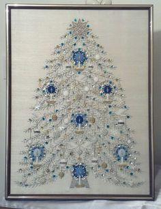 Vintage jeweled tree picture