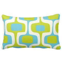 Mid-Century Aqua and Chartreuse Retro Pattern