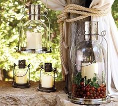 Under glass: Arches Lantern - contemporary - candles and candle holders - Pottery Barn Diy Candle Lantern, Candle Lamp, Votive Candles, Hurricane Candle, Candle Craft, White Candles, Glass Candle, Glass Jars, Contemporary Candles