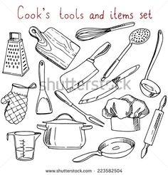 Cook's tools and items set. Vector illustration … Cook's tools and items set. Vector illustration with items for cooking. Cooking Art, Cooking Quotes, Cooking For One, Cooking Tools, Cooking Ideas, Cooking Gadgets, Cooking Time, Girl Cooking, Cooking Recipes