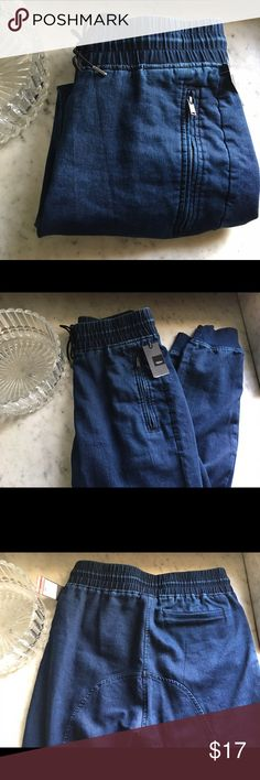 Mossimo blue jean pants Super blue jean lounge wear. Stretch ankle cuffs and elastic, draw string waistline. New with tag. Size small Mossimo Supply Co. Jeans