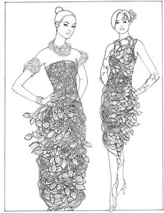 Creative Haven Flower Fashion Fantasies Coloring Book: