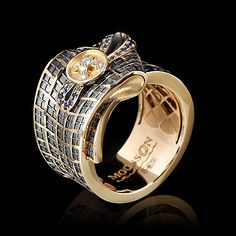 Mousson Atelier Pret-a-Porter Ring Yellow gold, Black gold, Diamonds, Sapphires