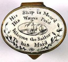 Folksy Mama searches the web for the best in antiques, folk art, and primitives. Marie Galante, Memento Mori, Sea Captain, Mourning Jewelry, Antique Boxes, Objet D'art, Little Boxes, Tall Ships, Casket