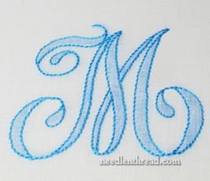 Shadow Work Embroidery - Monogram Great website for all types of hand sewing and many freebies. Handkerchief Embroidery, Embroidery Letters, Embroidery Fonts, Crewel Embroidery, Embroidery Applique, Cross Stitch Embroidery, Machine Embroidery, Embroidery Thread, Embroidery Patterns