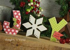 Christmas wood crafts   Joy wood words   Cute wood letters   Wood Super Saturday craft ideas