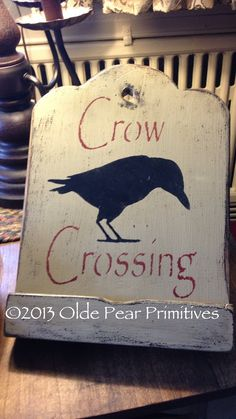 Primitive iPad holder with crow crossing design. Design and pattern by Olde Pear Primitives. OOAK.