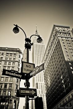 New York City USA - The Empire State Building watching Broadway and the west street, Manhattan.exactly where my school is. Building Tattoo, Photographie New York, A New York Minute, Australia Tours, Manhattan, I Love Nyc, Dream City, Street Signs, City Streets