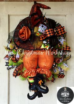 Witch wreath Halloween wreath deco mesh by MrsChristmasWorkshop