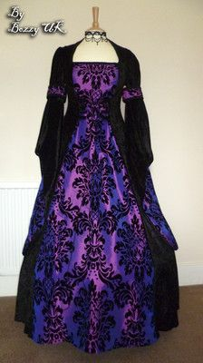 Bizspeaking.com Black & Purple Gothic Wedding Dress Renaissance Medieval Wicca Costume 14 16 18