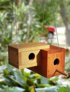 doppeltes Haus für Vogel aus Holz