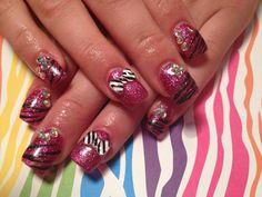 Gel nails, zebra, bows, pink