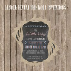 Invite your dearest family and friends over when you learn the gender of your soon to be arrival, with this cute Gender Reveal Printable
