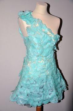 Fused blue bag dress