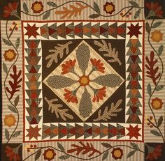 "Oak Leaves and Turkey Feathers. Pattern in ""Country Paths"" by Jan Patek"