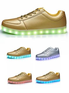 Both Women's & Men's Golden/Silver Unisex LED Shoes,Fashion Sneakers USB Rechargeable Luminous Shoes.Competitive price with high quality,it is a good gift as for the Christmas.