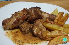 Pork Ribs Recipe in White Wine Sauce - cocina - Slimming World Pork Recipes, Healthy Beef Recipes, Roast Beef Recipes, Lunch Recipes, Meat Recipes, Mexican Food Recipes, Cooking Recipes, Beef Steak, Pork Ribs