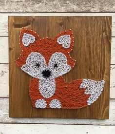Fox wood string art plaque Dimensions: 29.5cm x 29.5cm Picture hanger attached to the back ready to put straight on the wall.
