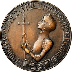 """Anna Vaughn Hyatt Huntington (1876-1973) - Joan of Arc Medal. """"Homage to the Maid of France"""". Front View. Bronze. Circa 1919. 65.3mm."""