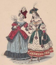 from a French publication, Petit Courrier des Dames, March 1837 Victorian Fancy Dress, Victorian Costume, Victorian Fashion, Victorian Halloween, Victorian Era, Mardi Gras Costumes, Masquerade Costumes, Holiday Costumes, Scottish Costume