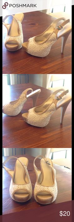 """Super cute """"lace overlay"""" heels 👠💕 Size 7. These are so amazing!  😍💕😍They're a tad bit big on me so I only wore them once, to a business dinner.  They are cream, with a thicker lace overlay (over cream material)  and tan trim. Elle Shoes Heels"""