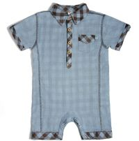 Such a stylish romper for such a little guy!  Chocolate and blue plaid with chambray material make up this boys infant romper.