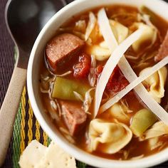 Sausage and Tortellini Soup.To make this simple soup, add tortellini, smoked sausage, tomatoes, and green beans to canned onion soup. Slow Cooker Soup, Slow Cooker Recipes, Crockpot Recipes, Soup Recipes, Cooking Recipes, Cooking Tips, Quick Recipes, Recipies, Korma