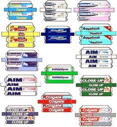 Assorted toothpaste boxes