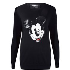 Markus Lupfer Black Mickey Mouse Sequin Knit Jumper ($425) ❤ liked on Polyvore featuring tops, sweaters, knit shirt, long sleeve shirts, black sequin sweater, sequin shirt and black knit sweater