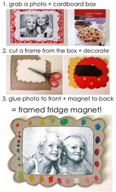 A great gift for the holidays and Thanksgiving break activity: cereal box frame magnets!