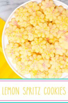 Lemon Spritz Cookies - soft and buttery, deliciously lemony, fun flowery #cookiepress #spritzcookies. #cookiepresscookies #lemoncookies #cookies #lemon #lemondesserts #lemonspritzcookies #lemonbuttercookies #buttercookies Best Homemade Cookie Recipe, Easy Cookie Recipes, Best Dessert Recipes, Baking Recipes, Cookies Soft, Spritz Cookies, Lemon Cookies, Lemon Desserts, Lemon Recipes