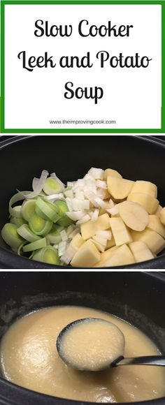 Slow Cooker Leek and Potato Soup- such an easy vegetarian soup recipe, perfect for winter lunches and making in big batches. It freezes really well and is really filling on those cold winter days when you need some comfort food. Slow Cooking, Slow Cooked Meals, Cooking Recipes, Vegetarian Cooking, Vegetarian Barbecue, Barbecue Recipes, Crockpot Meals, Slow Cooker Recipes Uk, Slow Cooker Soup Vegetarian