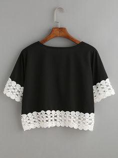 Black Contrast Crochet Trim Crop T-shirt -SheIn(Sheinside)