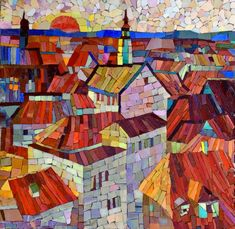 Мозаичная картина Красное солнце Балтии
