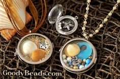 Use our beautiful glass lockets to create stunning keepsakes and mementos. We love this fun beach theme. Shop GoodyBeads.com for a large selection of deep shadow glass lockets.
