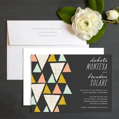 Chic Triangle Wedding Invitations by Rachel Marvin Creative| Elli