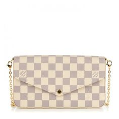 LOUIS VUITTON Damier Azur Felicie Chain Wallet Rose Ballerine ❤ liked on Polyvore featuring bags, wallets, louis vuitton wallet, credit card holder wallet, zip pouch bags, louis vuitton bags and white envelope clutch
