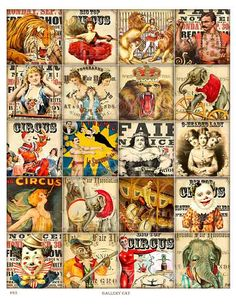 CIRCUS BLOCKS Digital Collage Sheet Instant Download by GalleryCat
