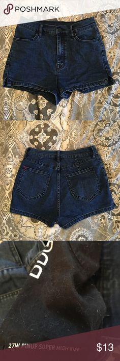 High waisted denim shorts Dark wash denim pinup shorts from urban outfitters BDG Shorts Jean Shorts